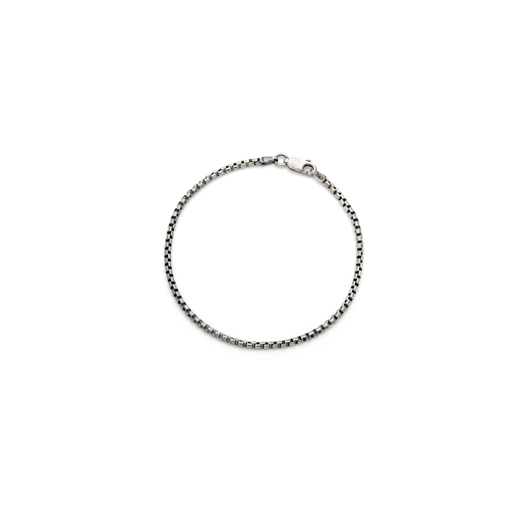 Men's Thick Box Chain Bracelet - Sterling Silver