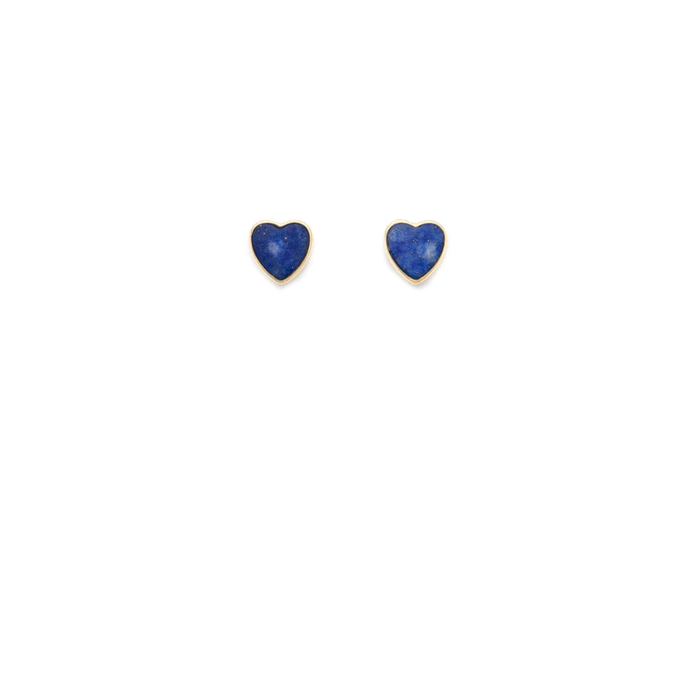Lapis Heart Stud - 10k Solid Gold