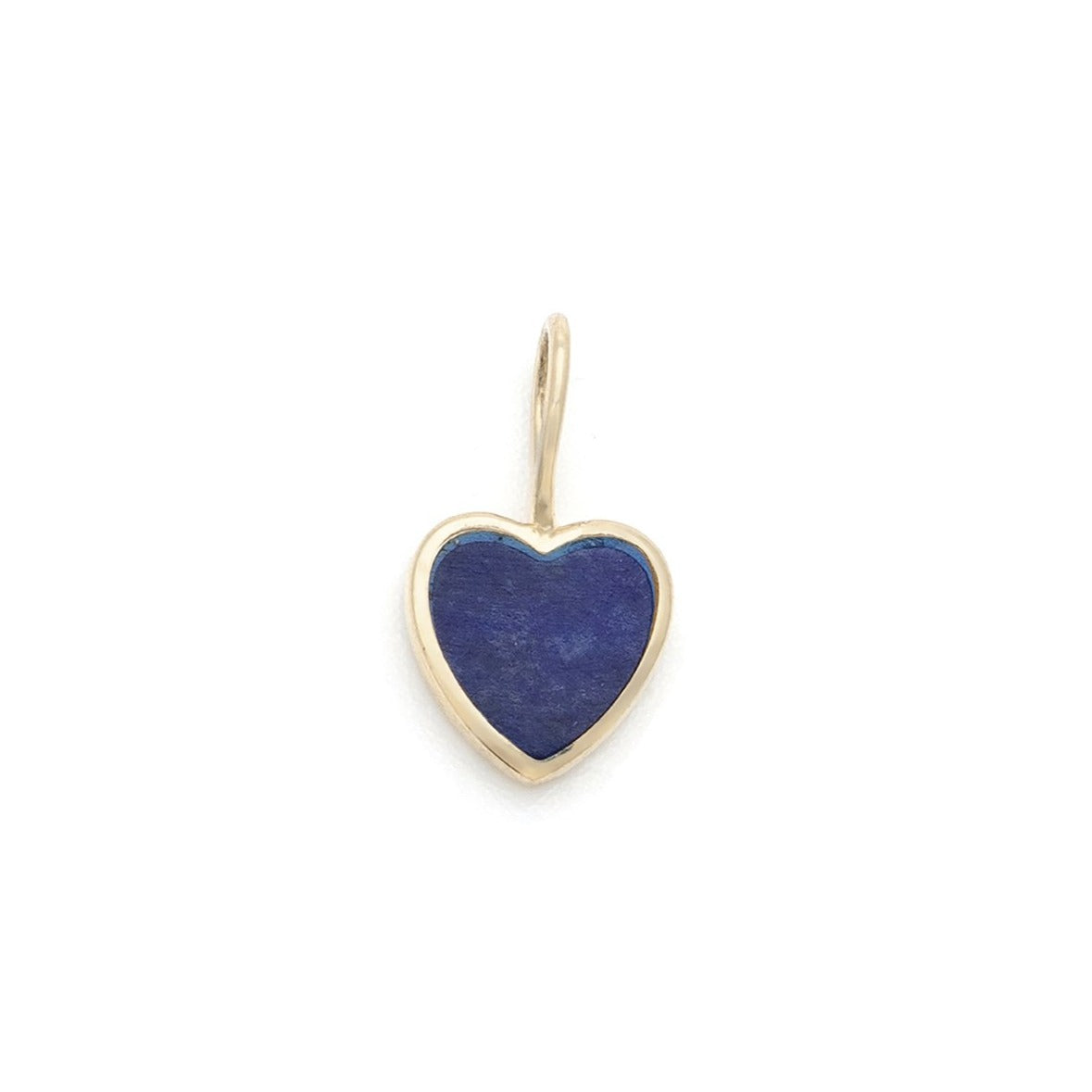 Lapis Heart Charm - 10k Solid Gold