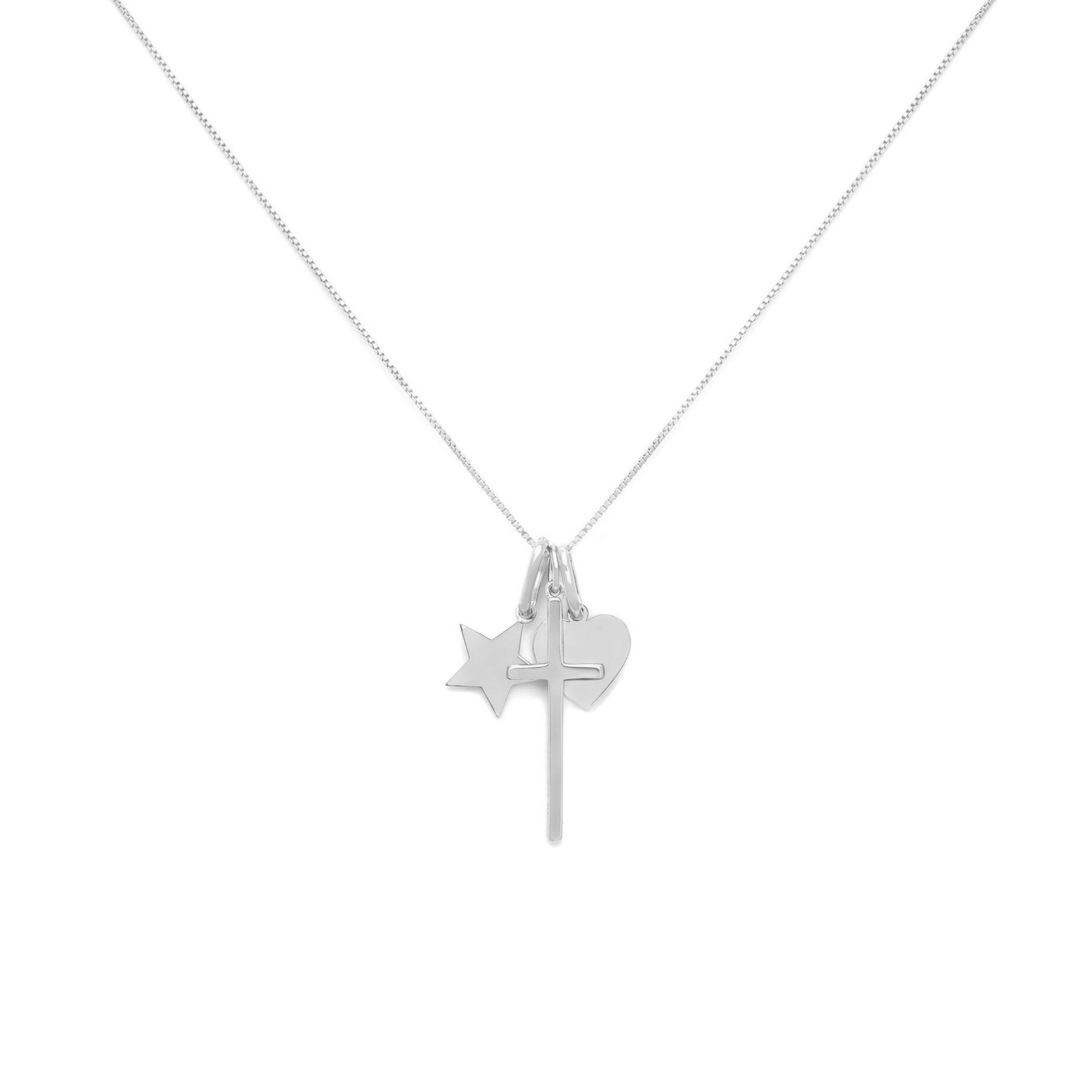 Love and Faith Charm Necklace - Sterling Silver