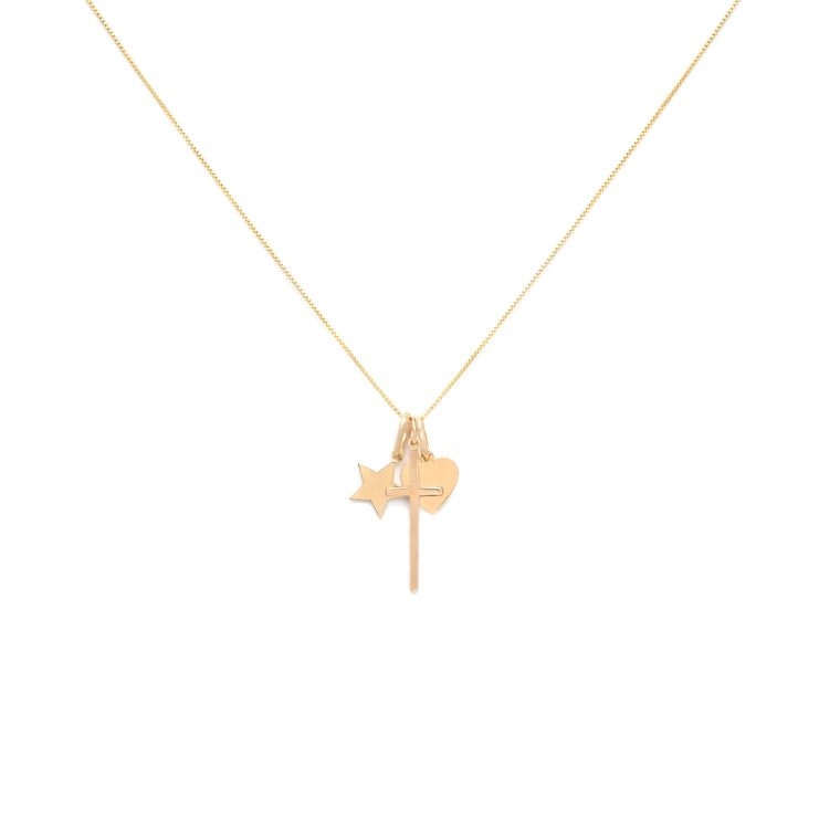 Love and Faith Charm Necklace - Gold Vermeil