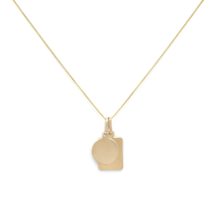 Mini Tag Duo Charm Necklace - 10k Solid Gold
