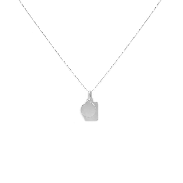 Mini Tag Duo Charm Necklace - Sterling Silver