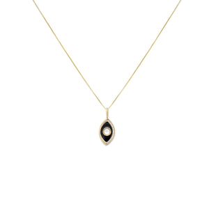 Onyx Enamel Evil Eye Pendant - Gold Vermeil/Mother of Pearl