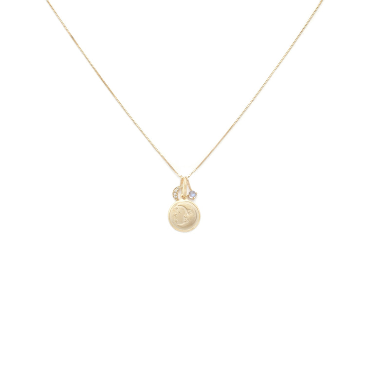 Moon Lover Charm Necklace - 10k Solid Gold