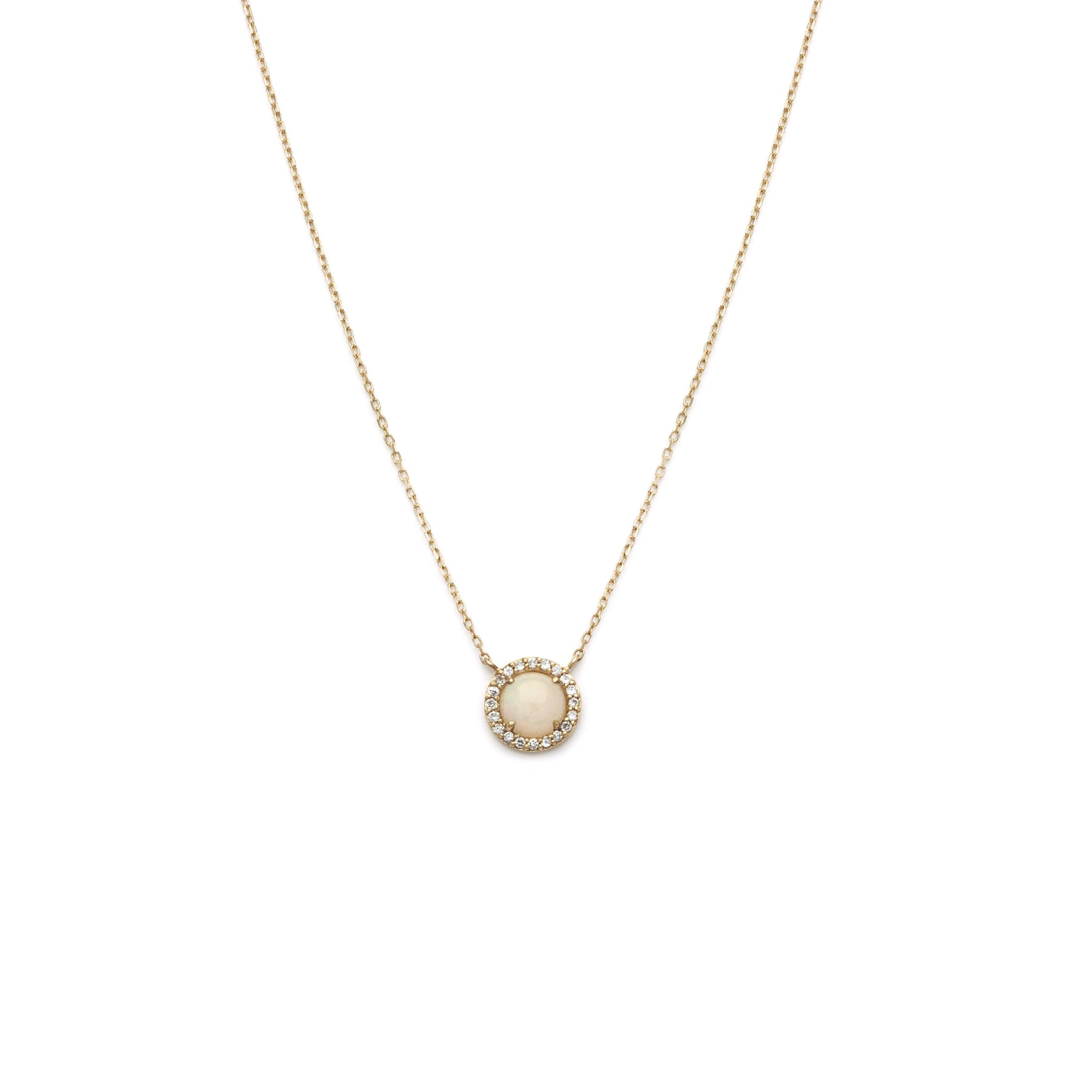 Halo Stone Necklace - 14k Solid Gold