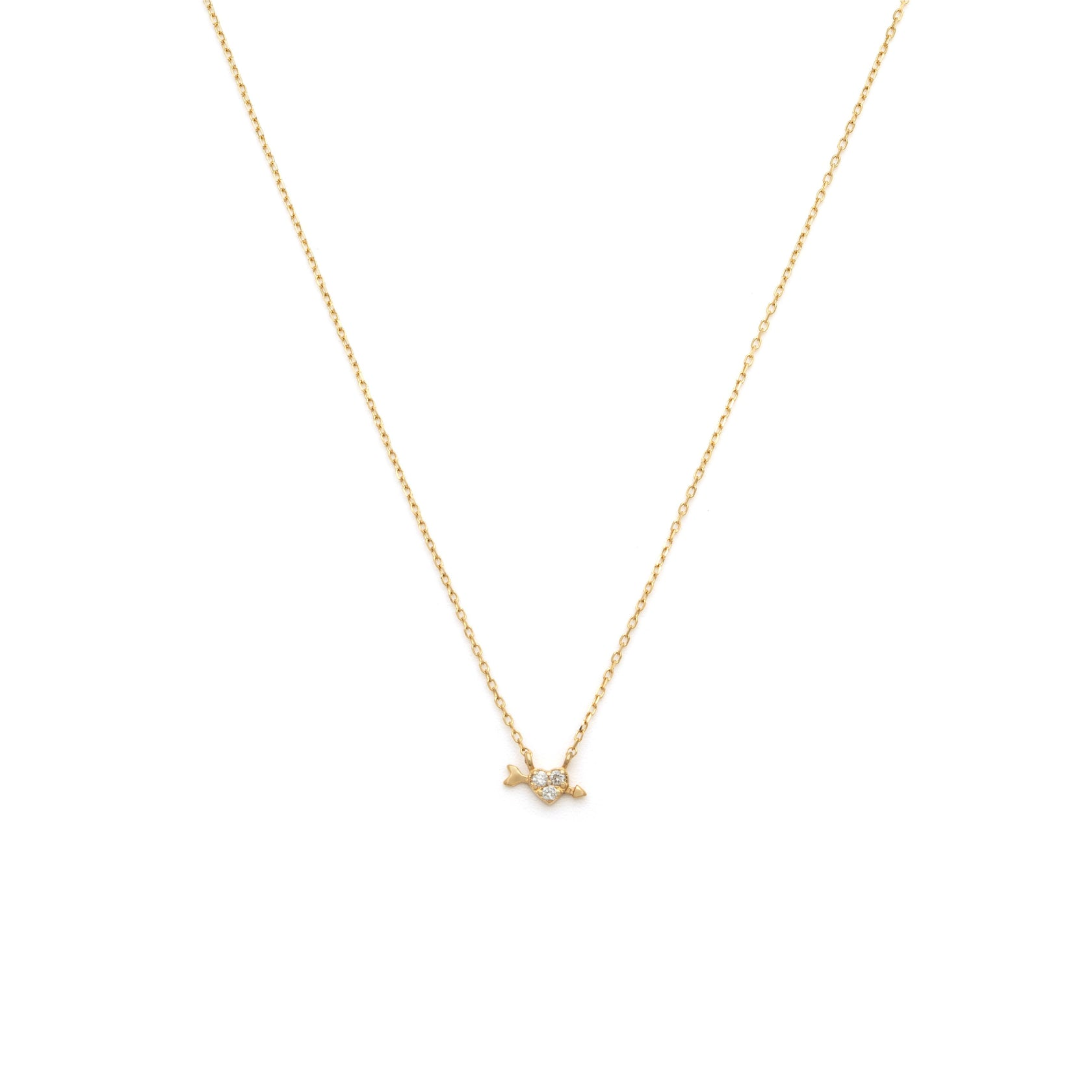 Heart & Arrow Necklace - 14k Solid Gold