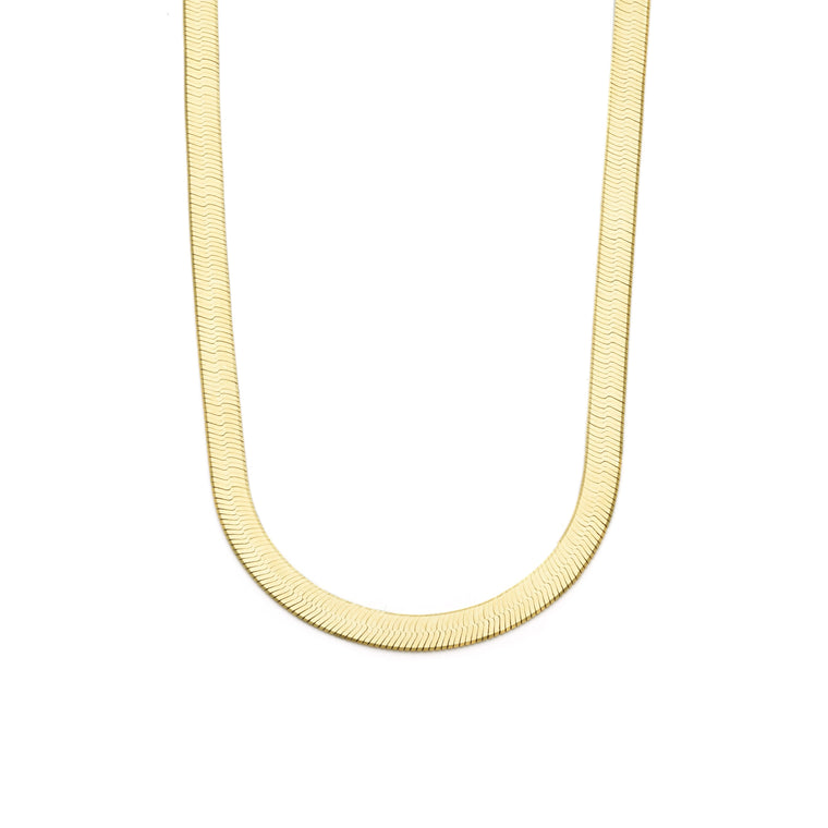 6mm Large Herringbone Chain - Gold Vermeil