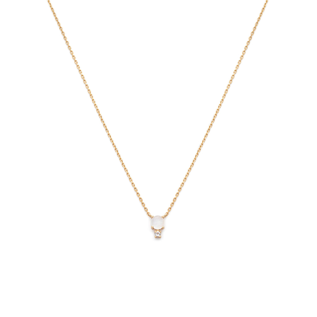 Circle Drop Necklace-Moonstone/Gold