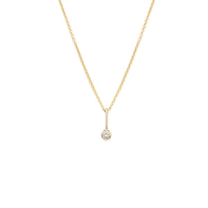 White Sapphire Pendant - 14k Solid Gold