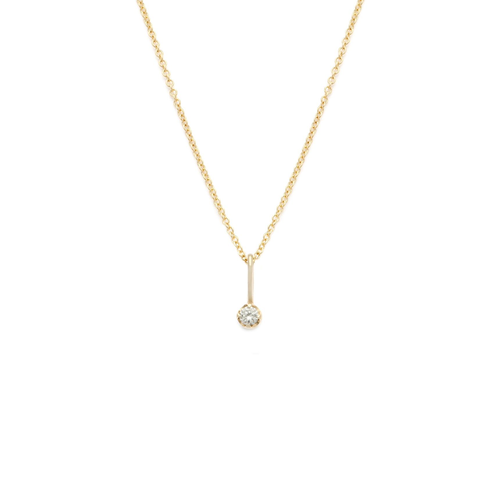 Coveted White Sapphire Pendant - 14k Solid Gold