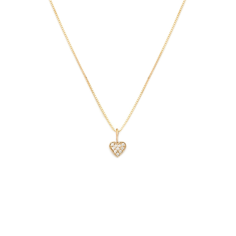 Pave Heart Pendant - 10k Solid Gold