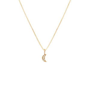 Pave Moon Pendant - 10k Solid Gold