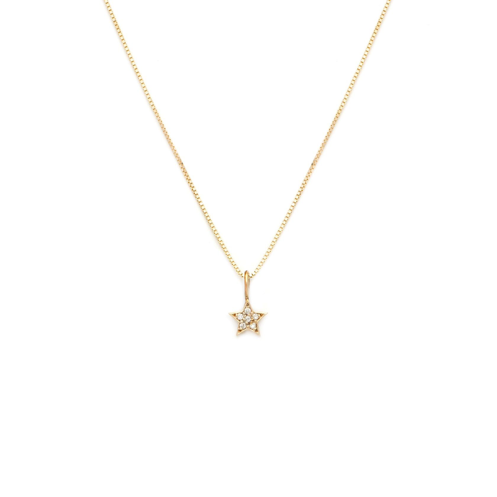 Pave Star Pendant - 10k Solid Gold