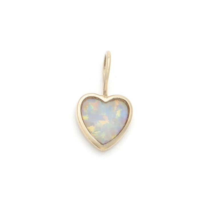 Opalite Heart Charm - 10k Solid Gold