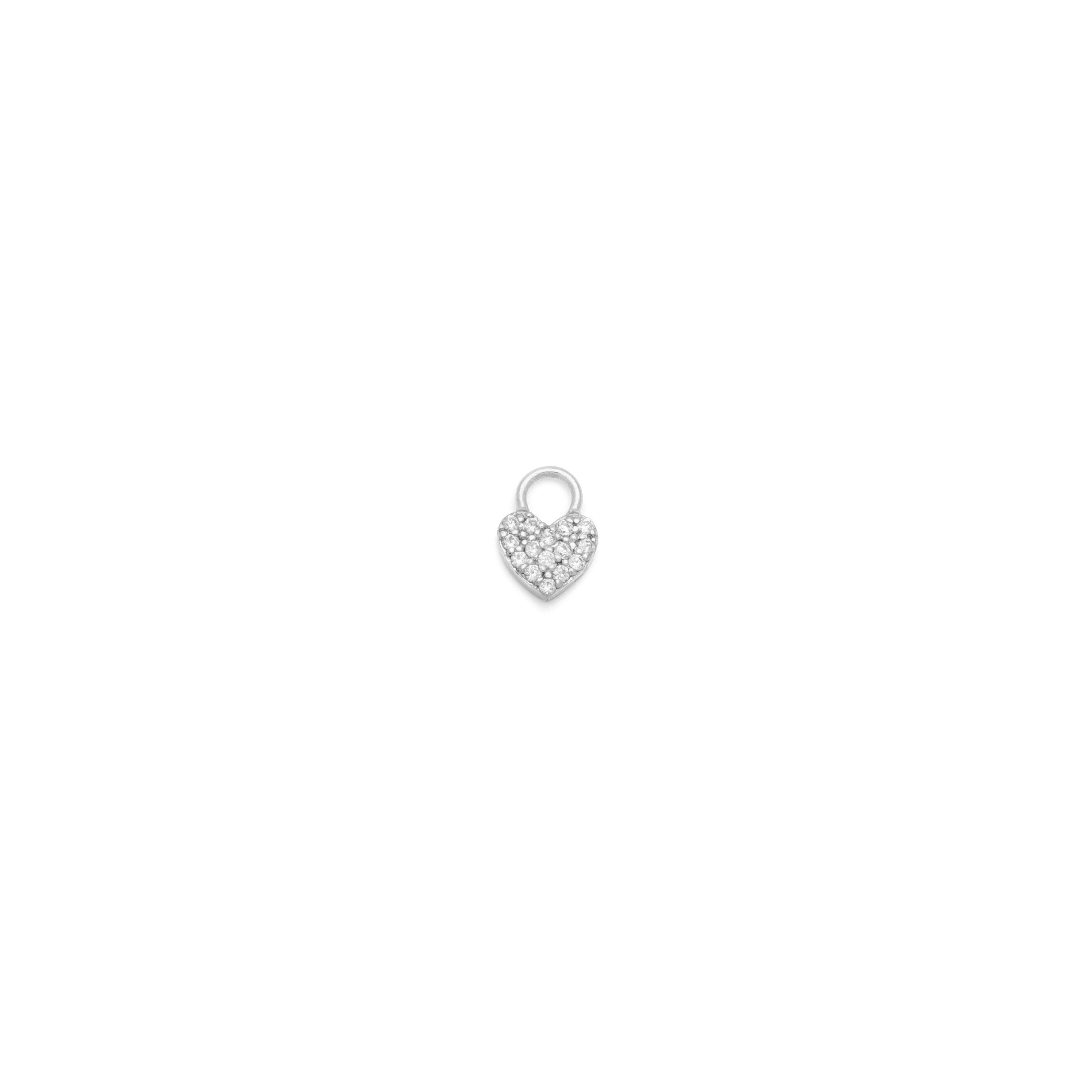 Single Pave Heart Earring Charm - Sterling Silver