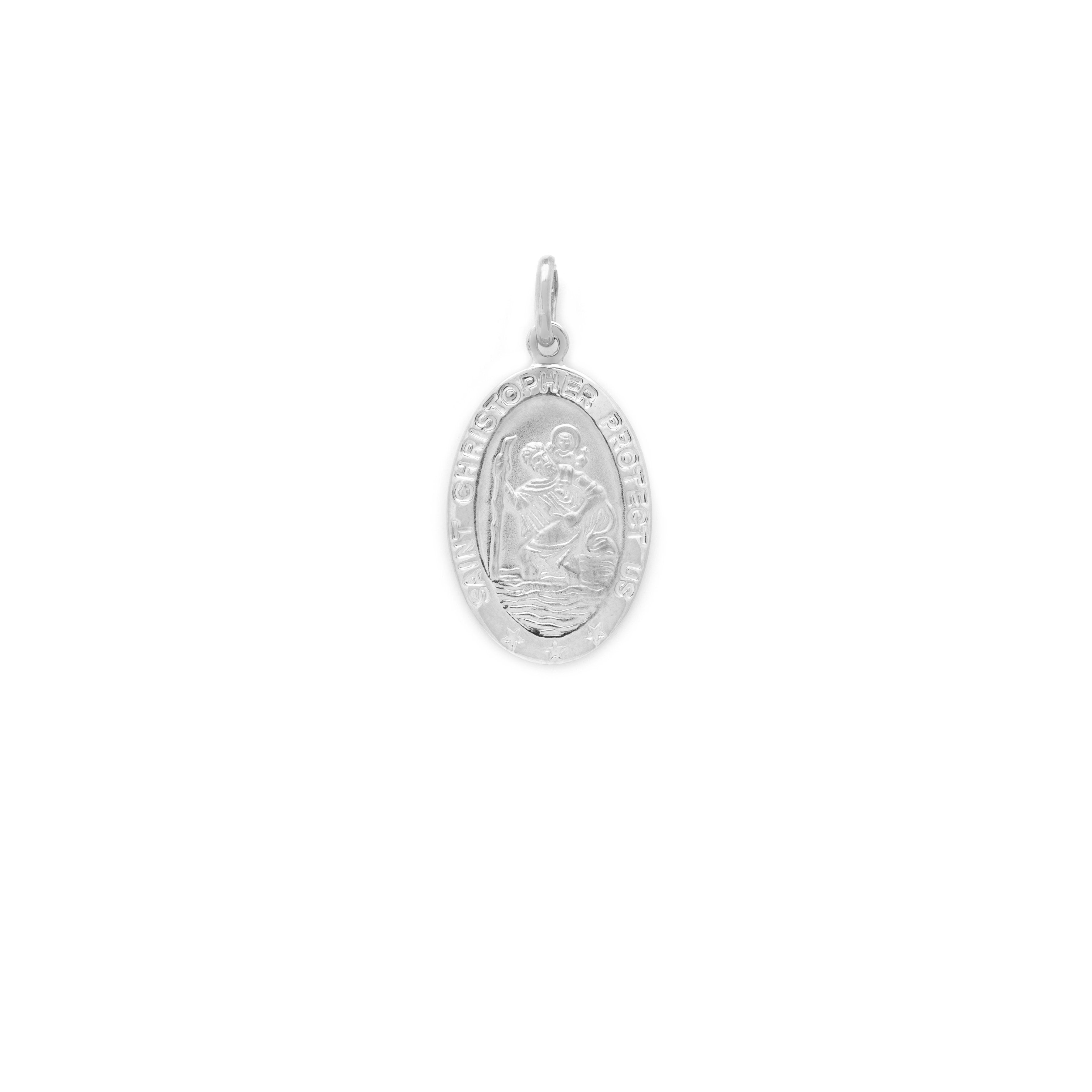 St. Christopher Oval Medallion - Sterling Silver