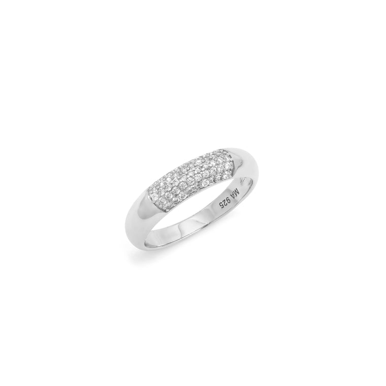 Pave Demi Ring - Sterling Silver