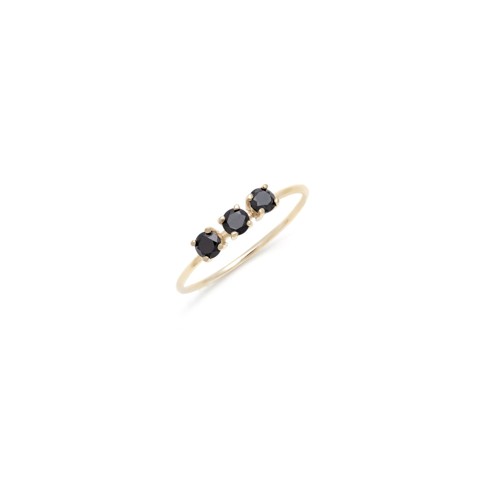 Black Spinel Trio Ring - 10k Solid Gold