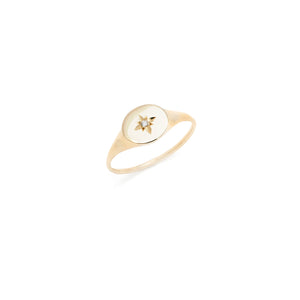 Diamond Star Signet - 10k Solid Gold