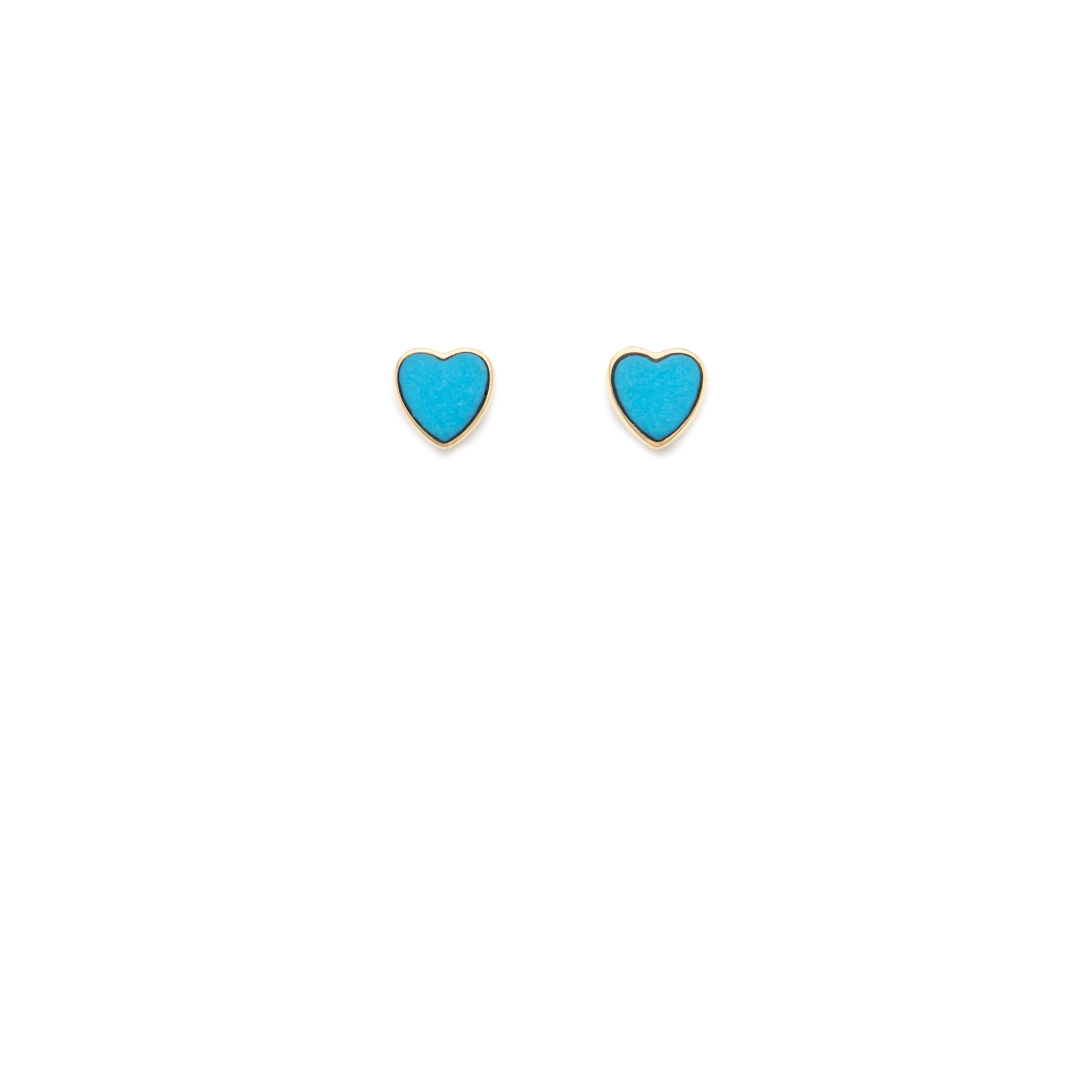 Turquoise Heart Stud - 10k Solid Gold