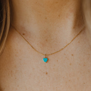 Turquoise Heart Charm - 10k Solid Gold