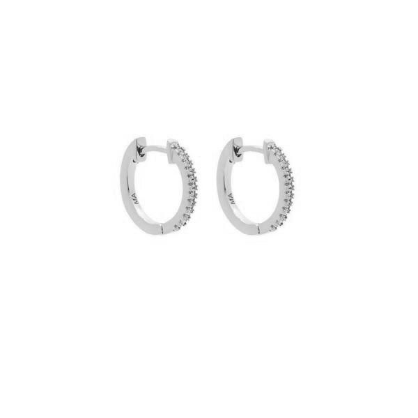 Pave Huggies - Sterling Silver