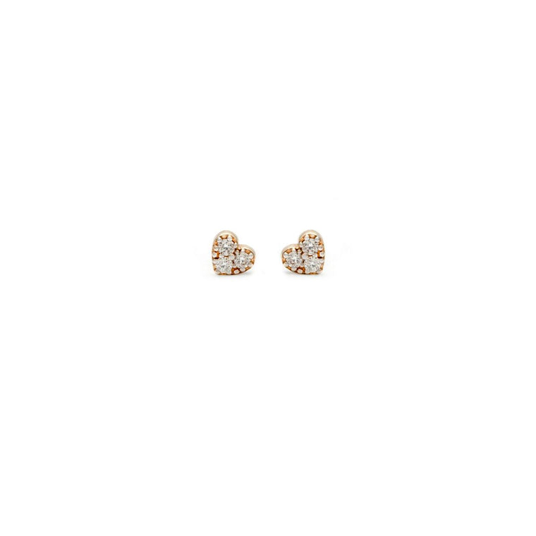 Diamond Heart Studs - 14k Solid Gold