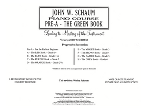 Schaum Piano Course - Pre A - The Green Book
