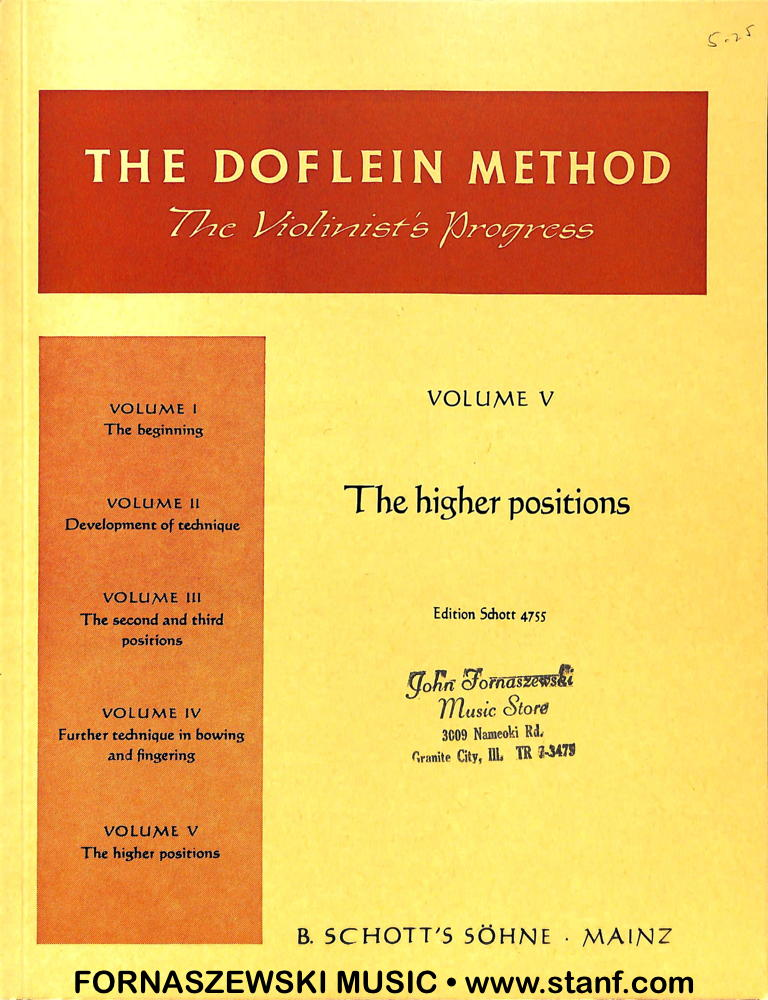 Doflein Violin Method - The Higher Positions - Vol 5 - Fornaszewski Music Store, Granite City IL 62040 - www.stanf.com
