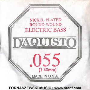 .055 Nickel Plated Roundwound - D'Aquisto Electric Bass Guitar String - Fornaszewski Music Store, Granite City IL 62040 - www.stanf.com