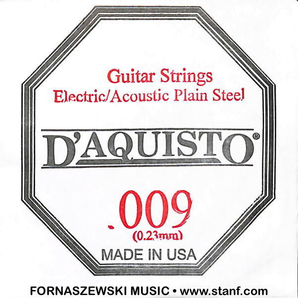 .009 Plain Nickel Silver - D'Aquisto - Electric / Acoustic Guitar String - Fornaszewski Music Store, Granite City IL 62040 - www.stanf.com