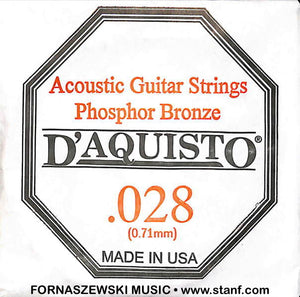 .028 Phosphor Bronze Wound - D'Aquisto Acoustic Guitar String - Fornaszewski Music Store, Granite City IL 62040 - www.stanf.com