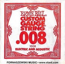 Load image into Gallery viewer, .008 Plain - Ernie Ball  - Custom Gauge Electric / Acoustic Guitar String - Fornaszewski Music Store, Granite City IL 62040 - www.stanf.com