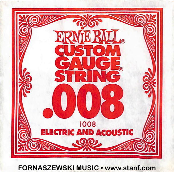 .008 Plain - Ernie Ball  - Custom Gauge Electric / Acoustic Guitar String - Fornaszewski Music Store, Granite City IL 62040 - www.stanf.com