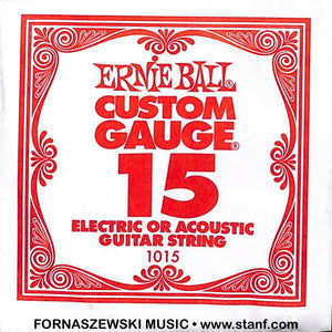 .015 Plain - Ernie Ball  - Custom Gauge Electric / Acoustic Guitar String - Fornaszewski Music Store, Granite City IL 62040 - www.stanf.com