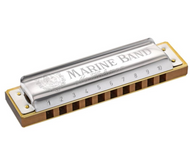 10 Hole Single Row - Marine Band - Hohner (Germany) Harmonica - Key of F# - Fornaszewski Music Store, Granite City IL 62040 - www.stanf.com