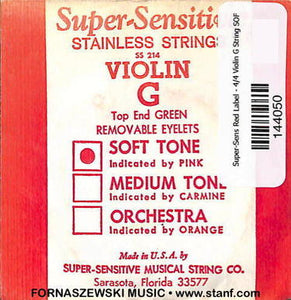 Super-Sensitive Red Label - 4/4 Violin G String SOFT - Fornaszewski Music Store, Granite City IL 62040 - www.stanf.com