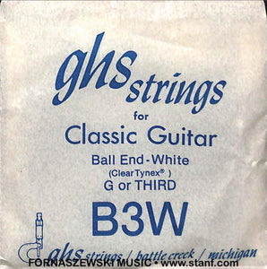 GHS - Ball End - White Third String B3W - Fornaszewski Music Store, Granite City IL 62040 - www.stanf.com