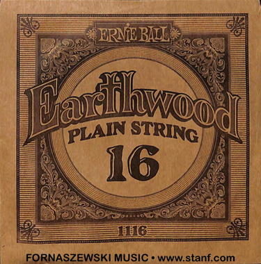 Ernie Ball - Earthwood Gauge .016 Plain Guitar String 1116 - Fornaszewski Music Store, Granite City IL 62040 - www.stanf.com
