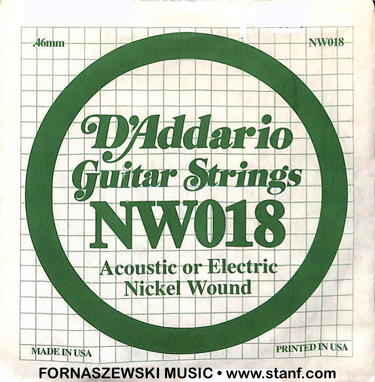 .018 Nickel Wound - D'Addario - Electric / Acoustic Guitar String NW018 - Fornaszewski Music Store, Granite City IL 62040 - www.stanf.com