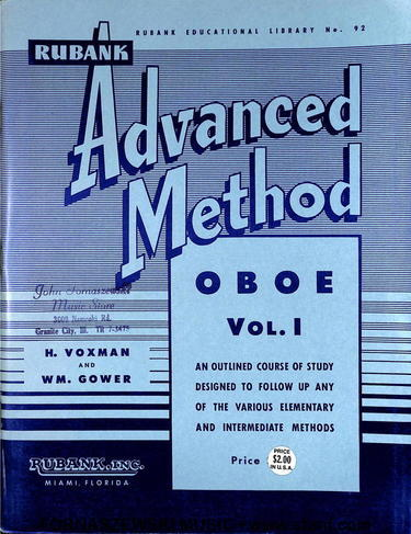 Rubank Advanced Method - Oboe Book Vol 1 - Fornaszewski Music Store, Granite City IL 62040 - www.stanf.com