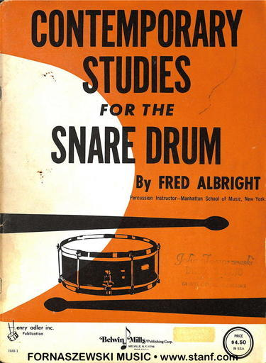 Albright - Contemporary Studies For The Snare Drum - Fornaszewski Music Store, Granite City IL 62040 - www.stanf.com