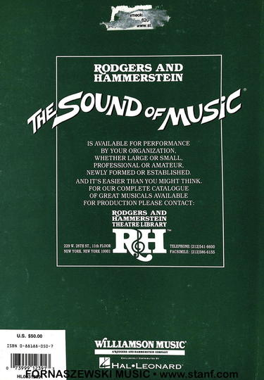 The Sound Of Music - Vocal Score - Fornaszewski Music Store, Granite City IL 62040 - www.stanf.com