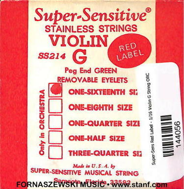 Super-Sensitive Red Label - 1/16 Violin G String ORC - Fornaszewski Music Store, Granite City IL 62040 - www.stanf.com