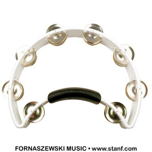 Rhythm Tech - Double Row Half Moon Tambourine - White RT1020 - Fornaszewski Music Store, Granite City IL 62040 - www.stanf.com
