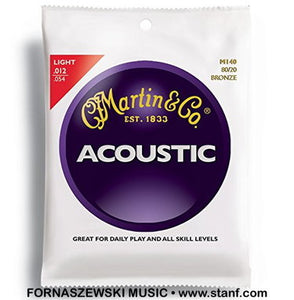 Martin M140 - 80/20 Bronze Acoustic Guitar Strings Set 12-54 Light - Fornaszewski Music Store, Granite City IL 62040 - www.stanf.com