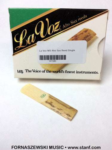 La Voz - Eb Alto Saxophone Reed - MS Medium Soft - Single - Fornaszewski Music Store, Granite City IL 62040 - www.stanf.com