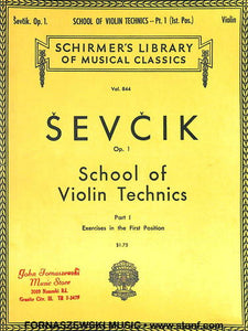Schirmer - Sevcik School of Violin Technics - Part 1 - Fornaszewski Music Store, Granite City IL 62040 - www.stanf.com