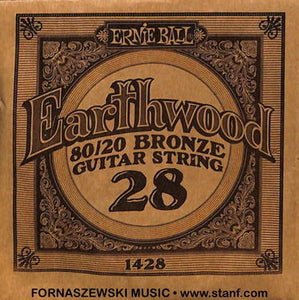 .028 80/20 Bronze - Ernie Ball Earthwood Guitar String 1428 - Fornaszewski Music Store, Granite City IL 62040 - www.stanf.com